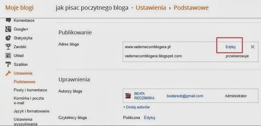 Własna domena internetowa na Bloggerze