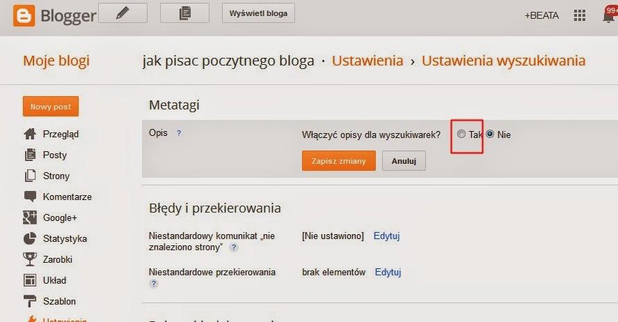 jak poprawić pozycję strony w google? Jak dodać opis na potrzeby wyszukiwania do postów na Bloggerze i przy okazji poprawić SEO
