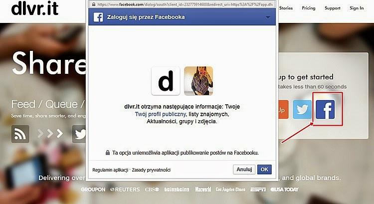 facebook automatyczne dodawanie wpisów na stronie dlvr.it