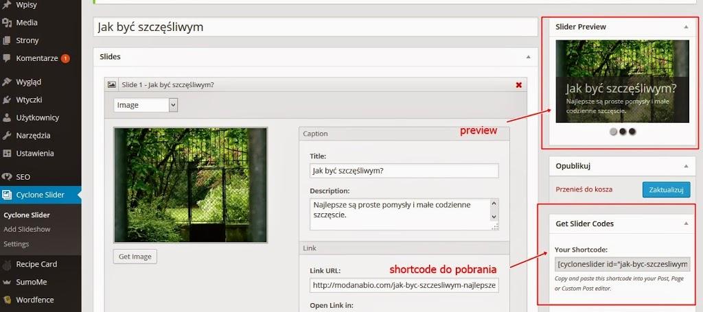 jak dodać pokaz slajdów na blogu na wordpressie i jak działa wtyczka Cyclone Slider 2