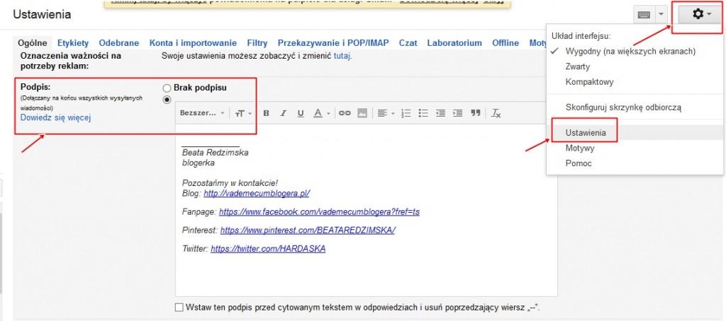 porady blogowe podpis w mailu