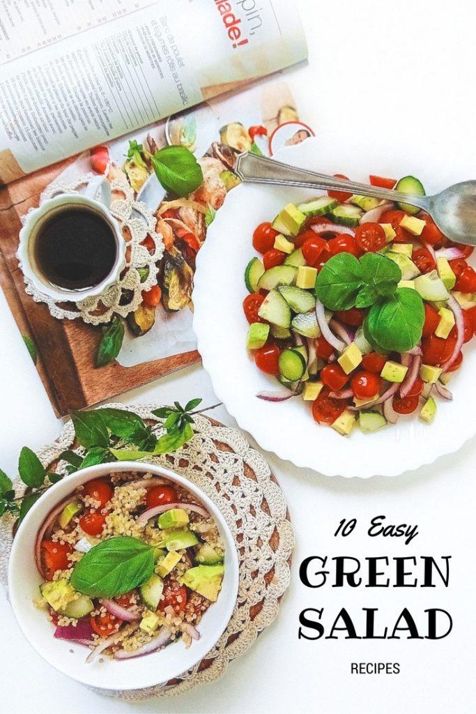 10 Easy Green Salad Recipes. Proste sałatki. Sałatka z awokado. Potrzebne nam będą: 1 awokado, garść pomidorków koktajlowych, ogórek,cebulka.