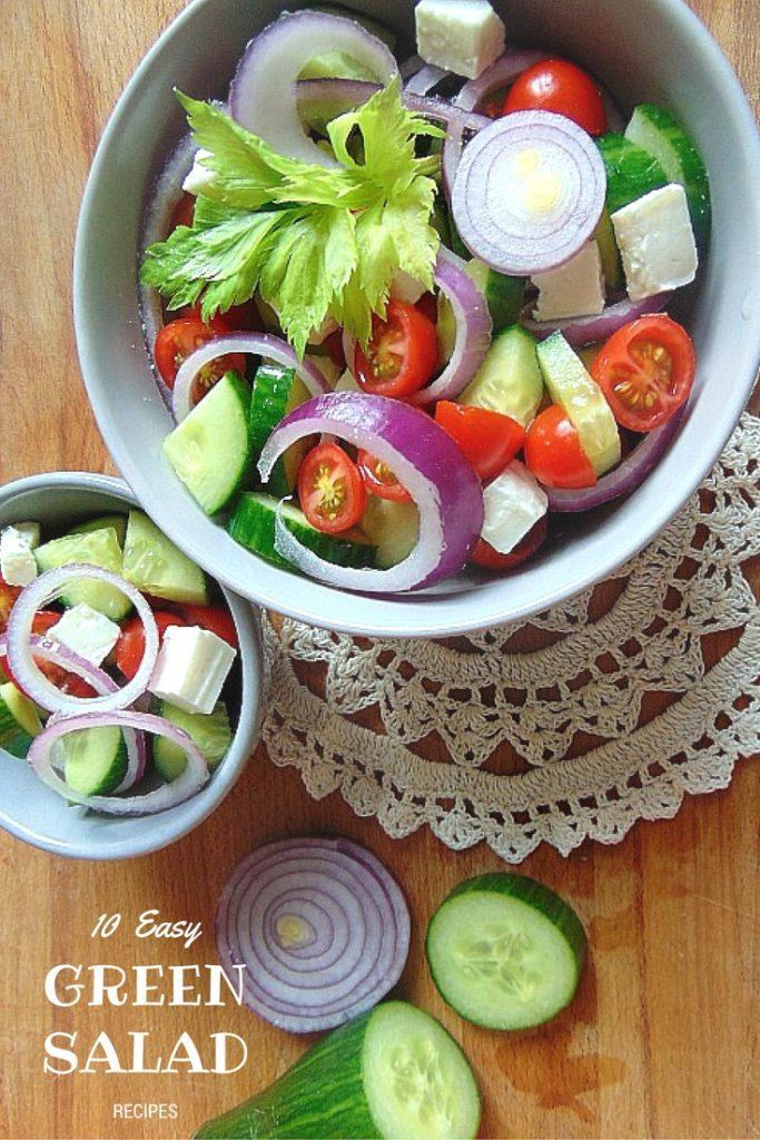 10 Easy Green Salad Recipes . proste sałatki. Sałatka grecka. Potrzebne nam będą: ogórek, 250 g pomidorków koktajlowych, 2 fioletowe cebule, 150 g fety, czarne oliwki.