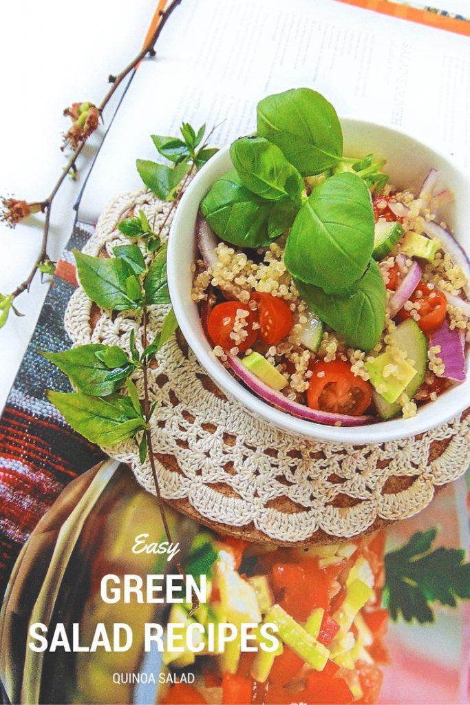 Easy Green Salad Recipes Sałatka z komosy ryżowej (quinoa) z warzywami. Potrzebne nam będą: szklanka komosy ryżowej (quinoa), awokado, pomidorki koktajlowe, ogórek, cebula.