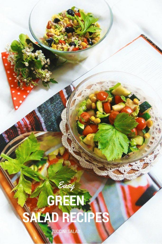 Easy Green Salad Recipes zuccini salad. Sałatka: cukinia, pomidor, kukurydza Potrzebne nam będą: 3 cukinie, 3 pomidory,połówka cytryny, natka pietruszki,250 g słoiczek kukurydzy, 2 łyżki oliwy z oliwek, sól i pieprz.