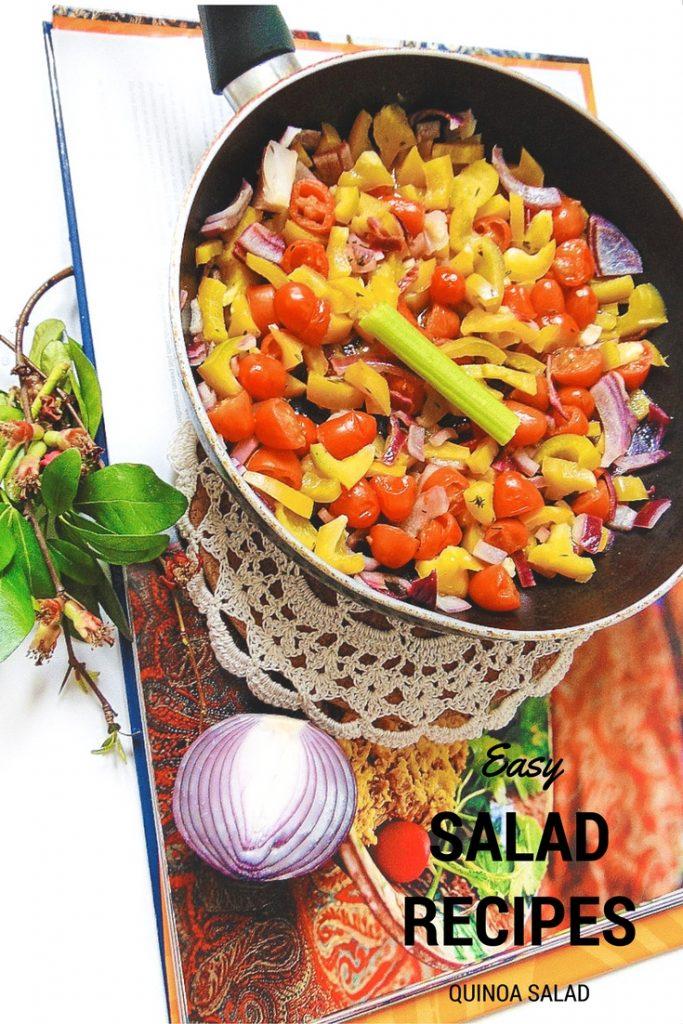 Easy SALAD RECIPES, quoinoa salad. Sałatka z komosy ryżowej z papryką Potrzebne nam będą: 2 cebulki (dokładnie poszatkowane), 2 papryki (pokrojone w kosteczkę), 2 ząbki czosnku,pomidorki koktajlowe, sól i pieprz, 250 g komosy ryżowej, gałązka tymianku.