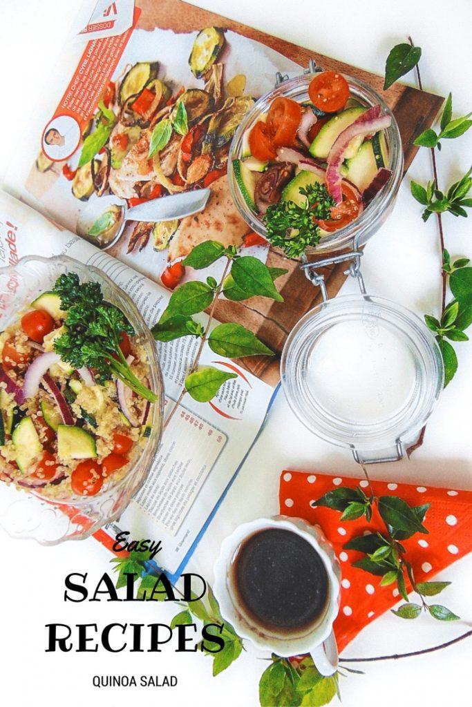 Easy Green Salad Recipes quinoa salad. Sałatka z komosy ryżowej (quinoa) z cukinią Potrzebne nam będą: cukinia, 250 g pomidorków koktajlowych, szklaneczka ziaren komosy ryżowej, cebulka.