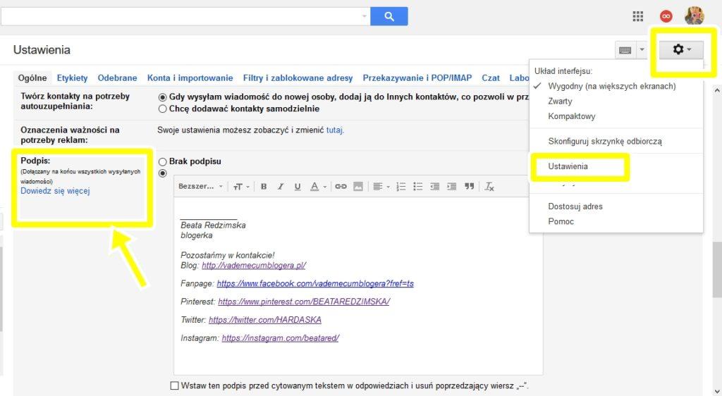 podpis w stopce maila na gmail