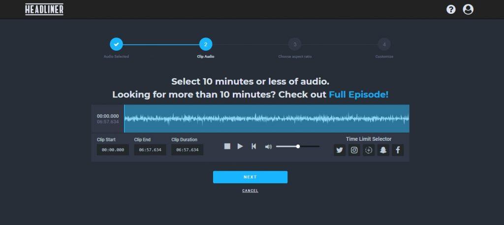 Jak przerobić nagranie audio - podcast na wideo. Aplikacja Headliner.app