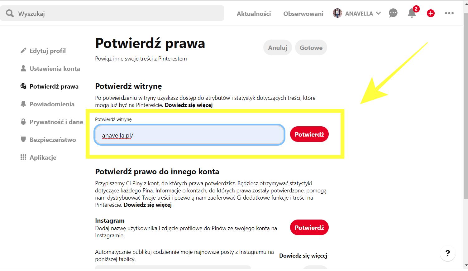Jak potwierdzić, że jesteś właścicielem Twojej domeny na Pintereście: