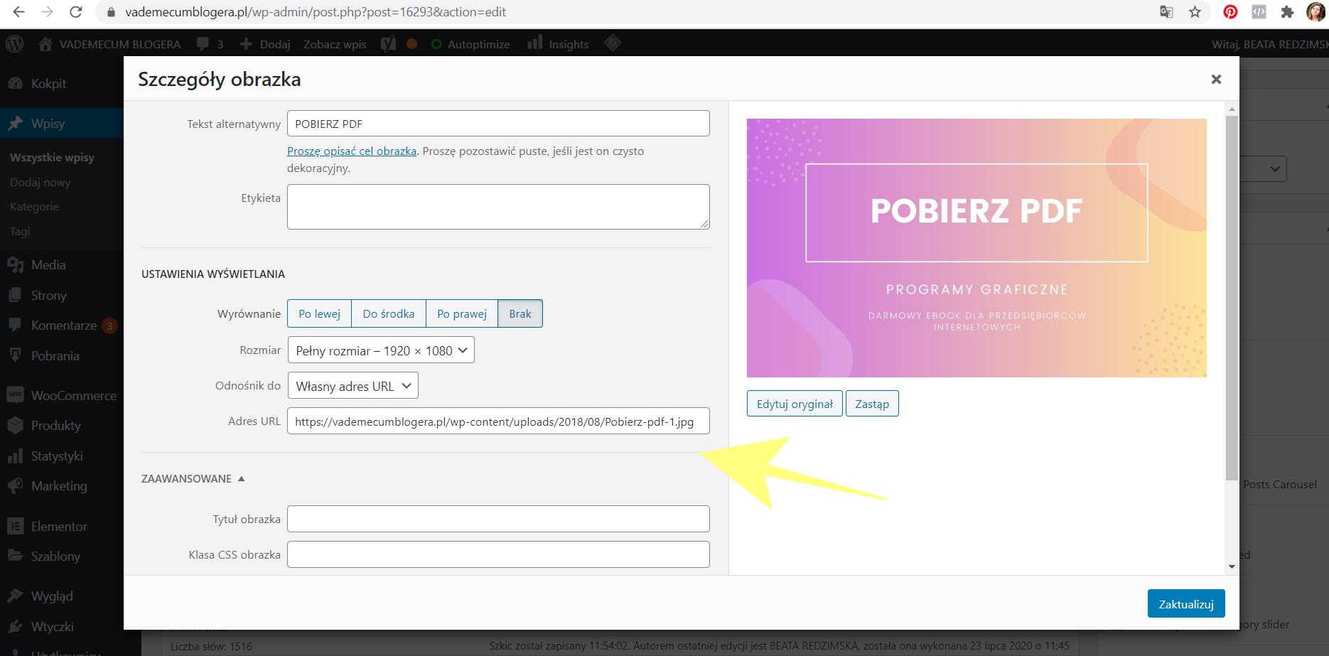 Jak podczepić pod zdjęcie na stronie dowolny link (np link do pdf - u do pobrania)?